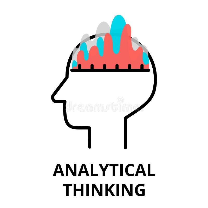 Ikone analytischen Denkens, flache dünne Linie Vektorillustration stock abbildung
