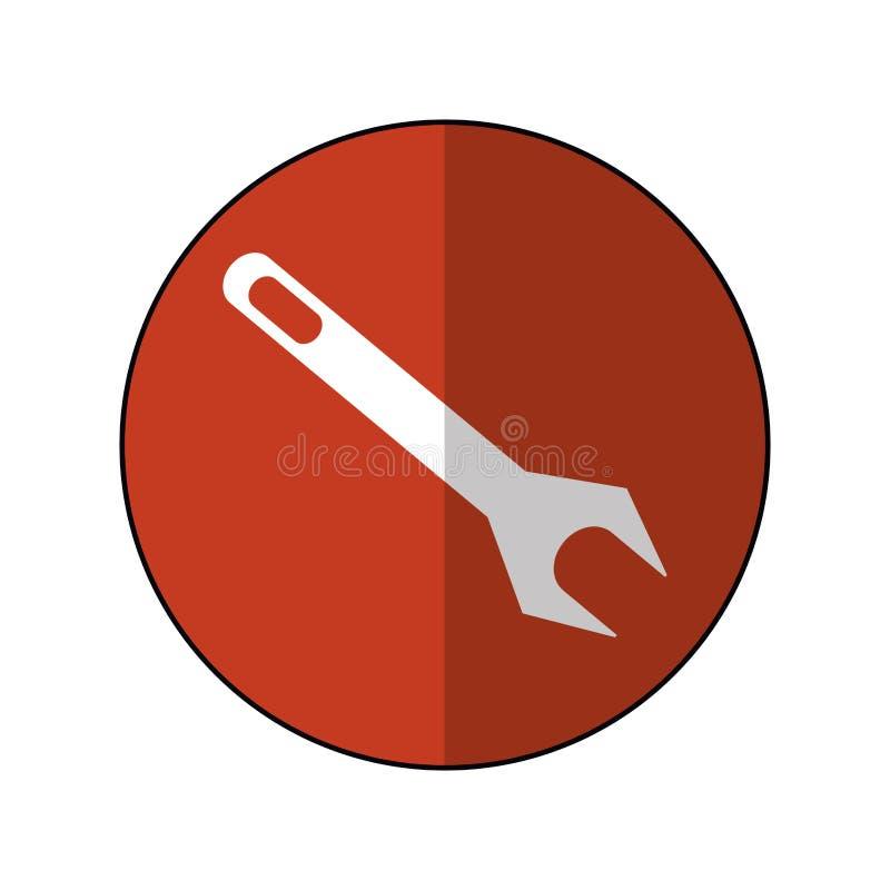 Ikone-brauner Kreisschatten des Schlüsselreparaturwerkzeugsymbols lizenzfreie abbildung