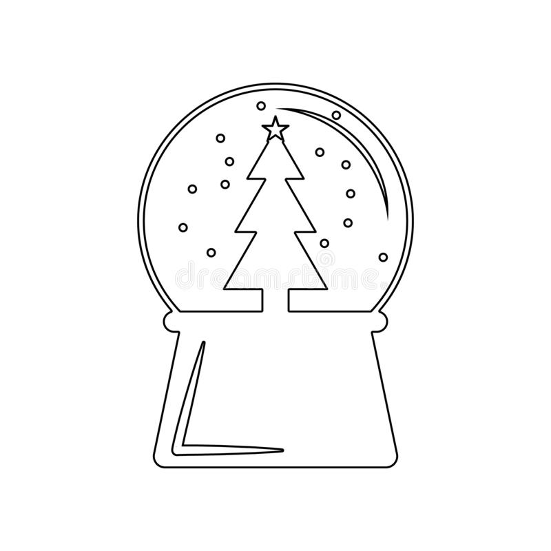 Ikone chrismas neues Jahr des Schneekugelballs Element des Winters f?r bewegliches Konzept und Netz Appsikone Entwurf, d?nne Lini vektor abbildung
