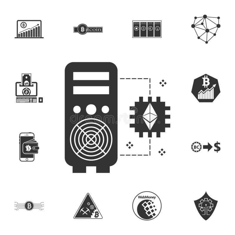 Ikone cryptocurrency grafische Karte des Ethereum-Bergbau-Arbeits-Bauernhof-Anlageneinkommens Schlüsselwährungssatzikonen lizenzfreie abbildung