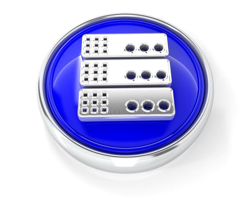 Ikone 3D auf glattem blauem rundem Knopf vektor abbildung
