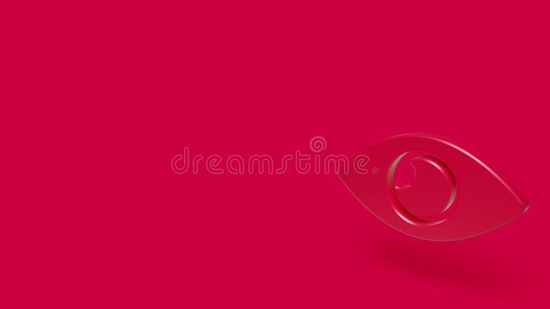 Ikone 3D des Auges mit rotem Hintergrund stock abbildung