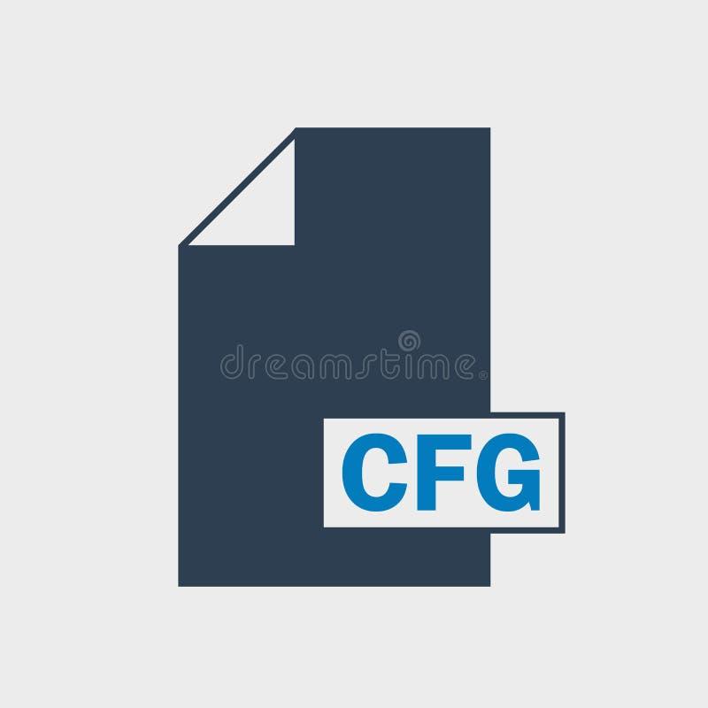 Ikone Dateiformat der Konfiguration CFG auf grauem Hintergrund stock abbildung