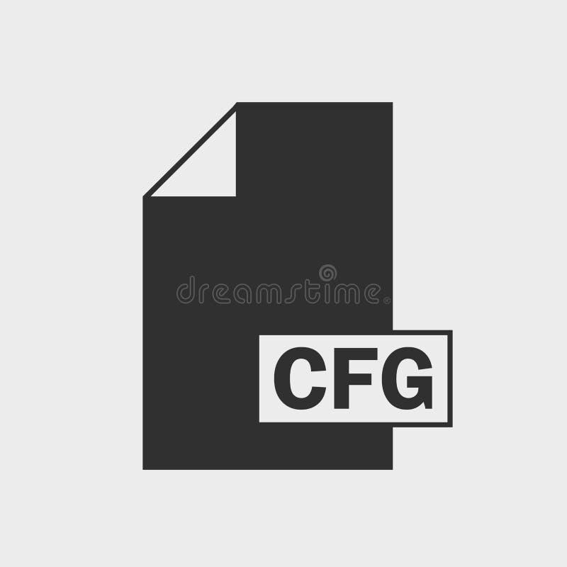 Ikone Dateiformat der Konfiguration CFG auf grauem Hintergrund lizenzfreie abbildung