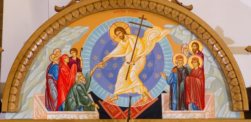 Ikone der Auferstehung von Jesus Christ stockbild