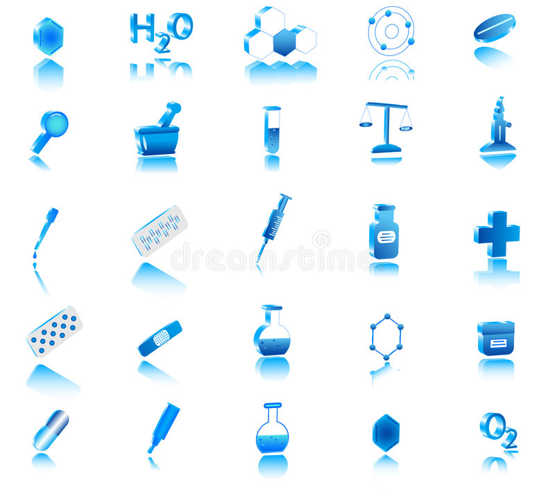 Ikone der Chemie 3d vektor abbildung