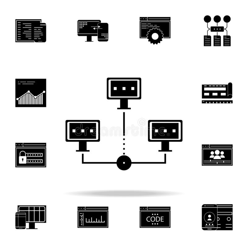 Ikone der dezentralisierten Datenbank Web-Entwicklungs-Ikonen-Universalsatz für Netz und Mobile vektor abbildung