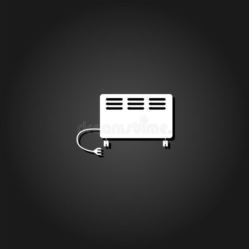 Ikone der elektrischen Heizung flach vektor abbildung