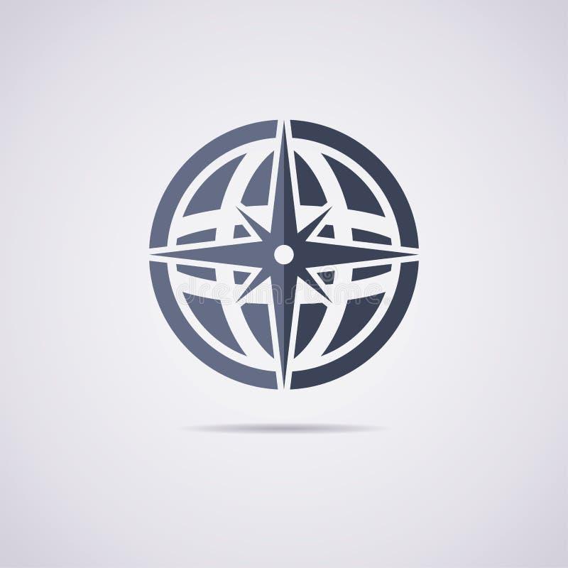 Ikone der Erdkugel und -kompassses lizenzfreie abbildung
