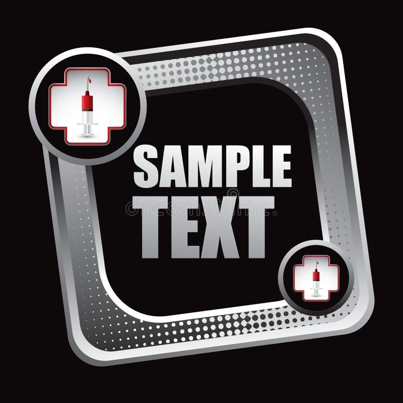 Ikone der Ersten ERSTE HILFE mit Spritze auf gekippter Web-Ikone stock abbildung