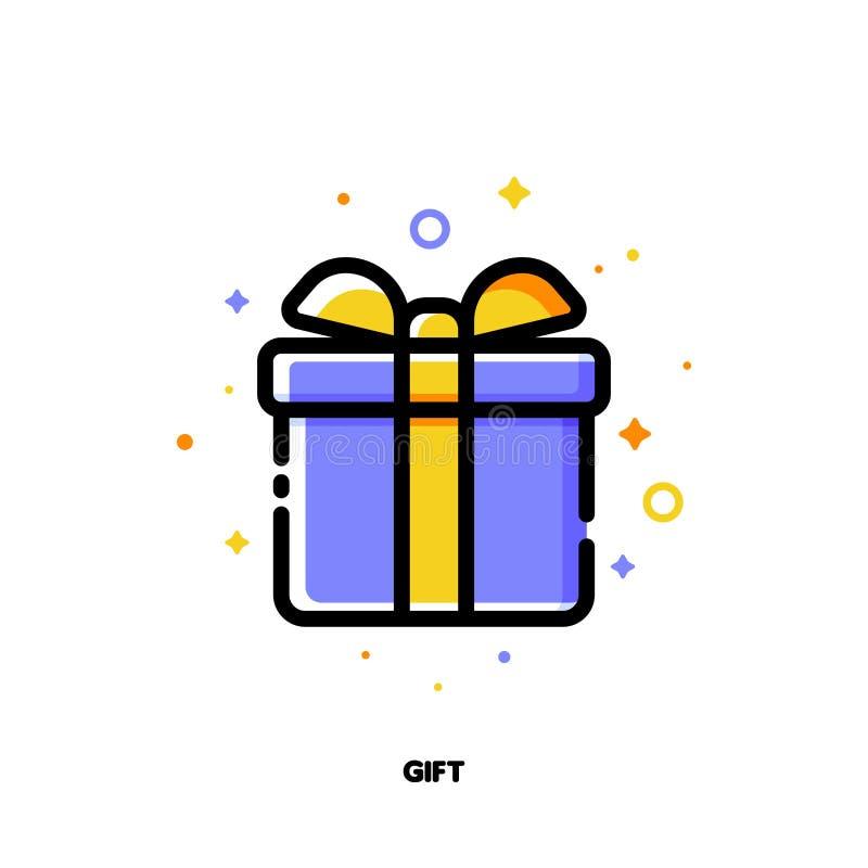 Ikone der Geschenkbox, die herrliche anwesende oder wunderbare Überraschung für Geldeinsparungseinkaufskonzept symbolisiert Ebene vektor abbildung