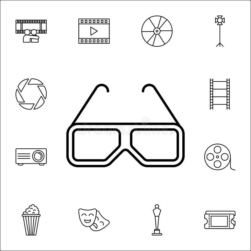 Ikone der Gläser 3D Kinoikonen-Universalsatz für Netz und Mobile vektor abbildung