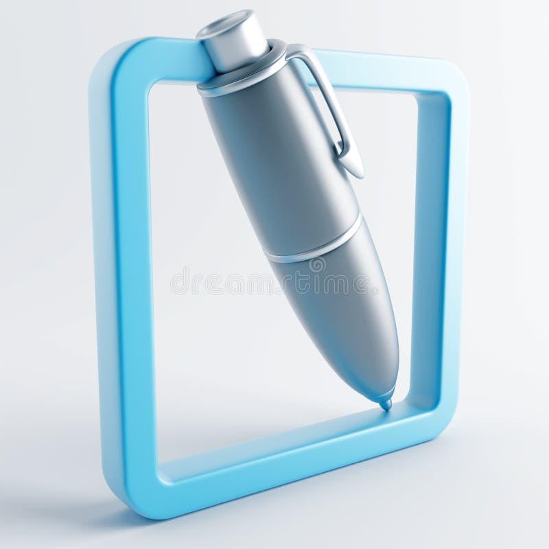 Ikone in der grau-blauen Farbe lizenzfreie abbildung