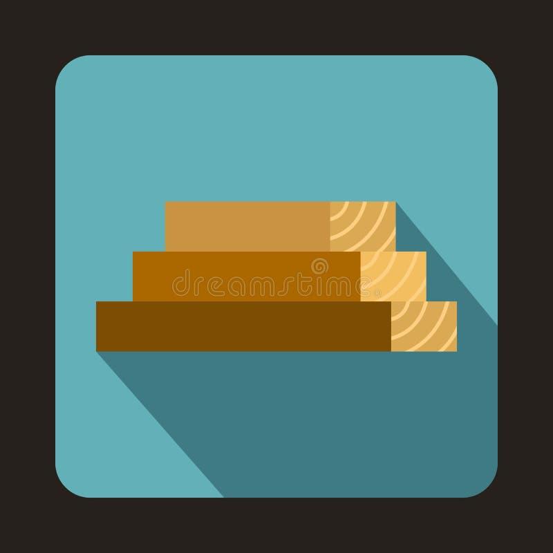 Ikone der hölzernen Bretter, flache Art lizenzfreie abbildung