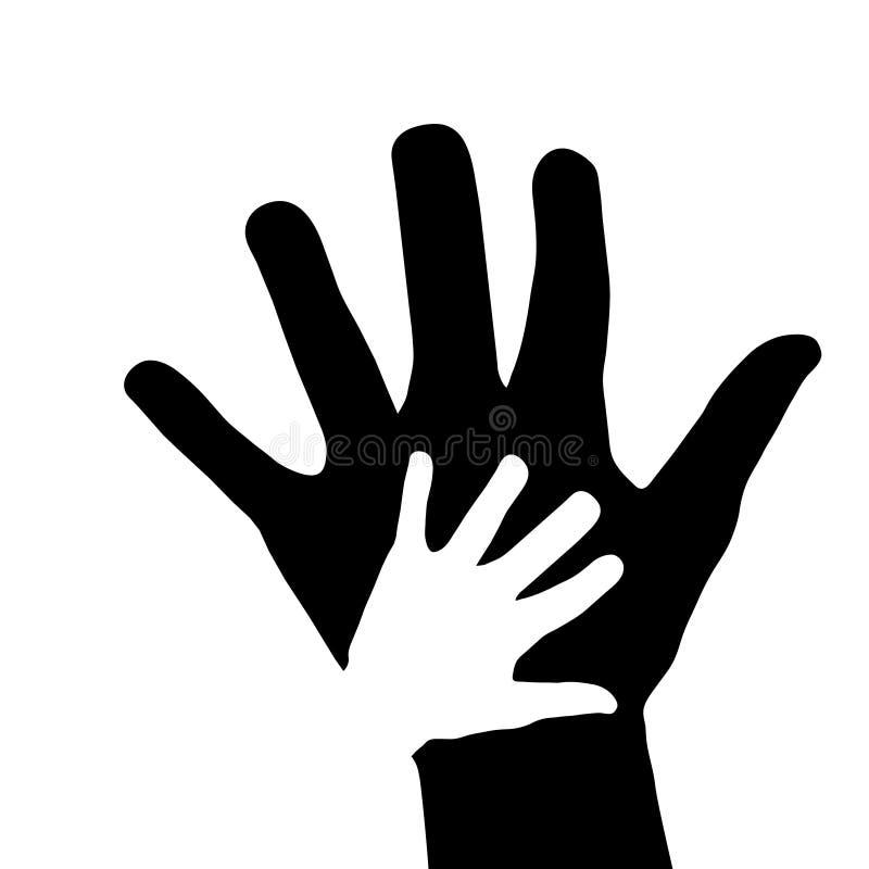 Ikone der Handreichungen Konzept, des Elternteils und des Babys Hand, Vektor auf Lager stock abbildung