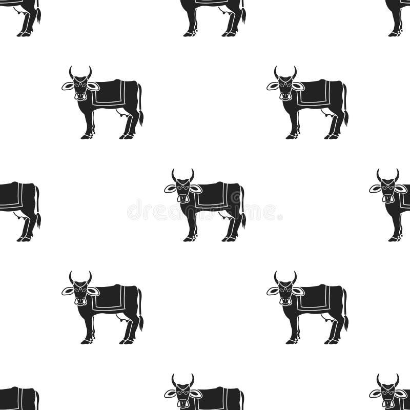 Ikone der heiligen Kuh in der schwarzen Art lokalisiert auf weißem Hintergrund Indien-Mustervorrat-Vektorillustration lizenzfreie abbildung