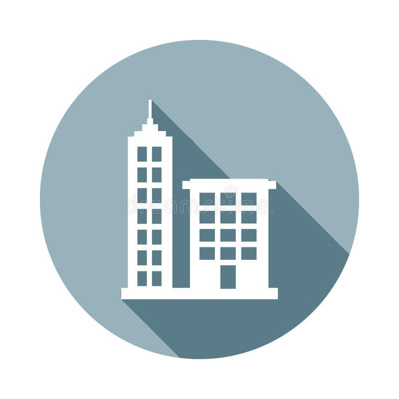 Ikone der hohen Gebäude in der flachen langen Schattenart Ein der Netzsammlungsikone kann für UI, UX verwendet werden stock abbildung