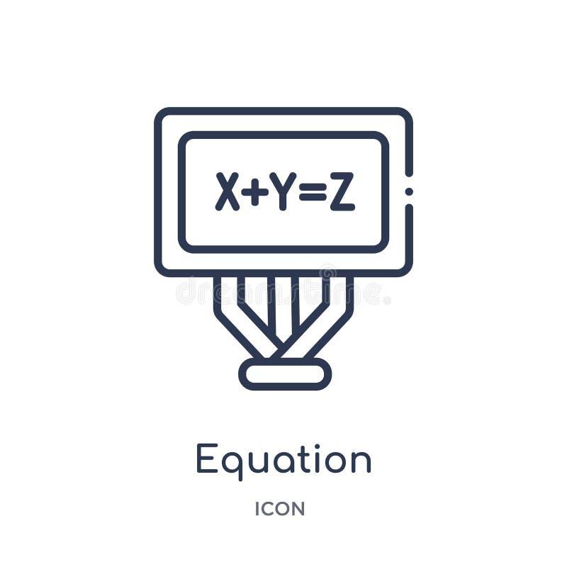 Ikone der linearen Gleichung von der Ausbildungsentwurfssammlung Dünne Linie Gleichungsikone lokalisiert auf weißem Hintergrund G lizenzfreie abbildung