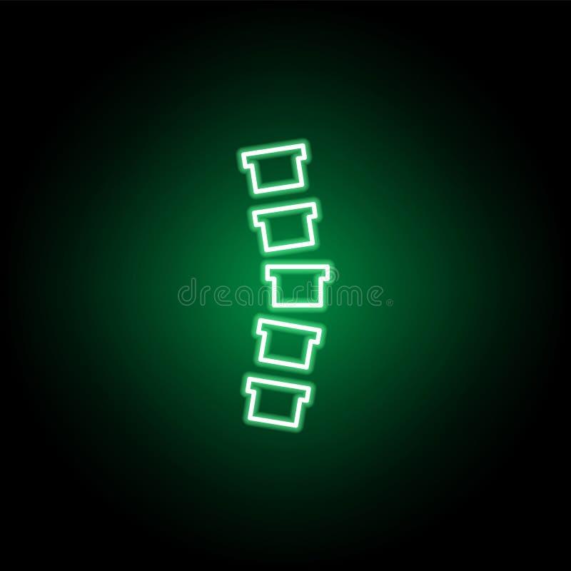 Ikone der medizinischen, Wirbelsäule in der Neonart Element der Medizinillustration Zeichen und Symbolikone k?nnen f?r Netz, Logo stock abbildung