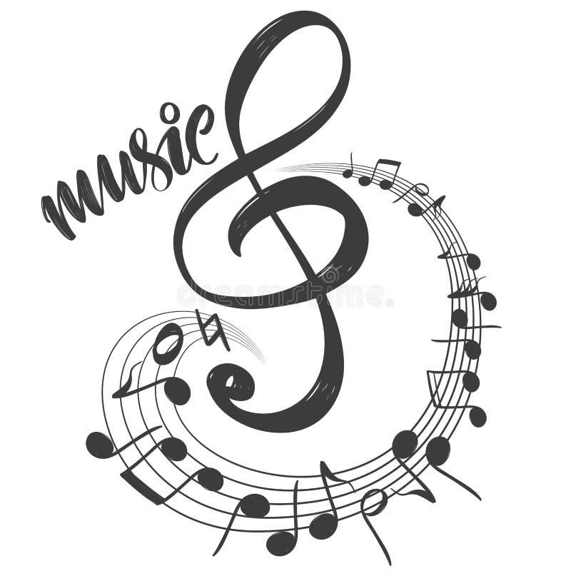 Ikone der musikalischen Anmerkungen, Liebesmusik, Kalligraphietexthandgezeichnete Vektorillustrationsskizze lizenzfreie abbildung