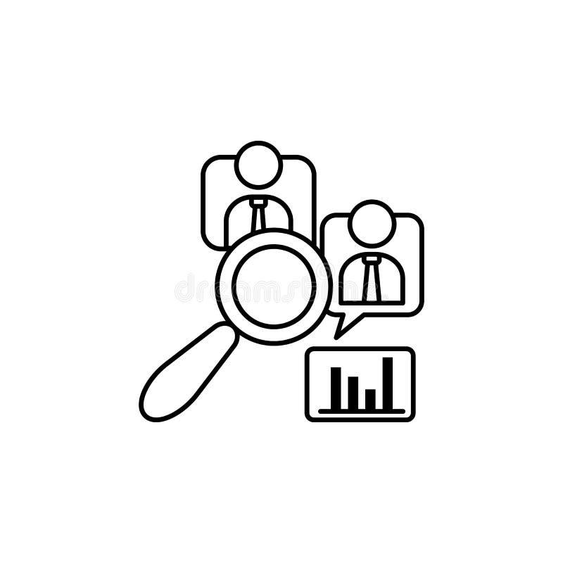 Ikone der qualitativen Forschung Such Element der Verbraucherverhaltenlinie Ikone vektor abbildung