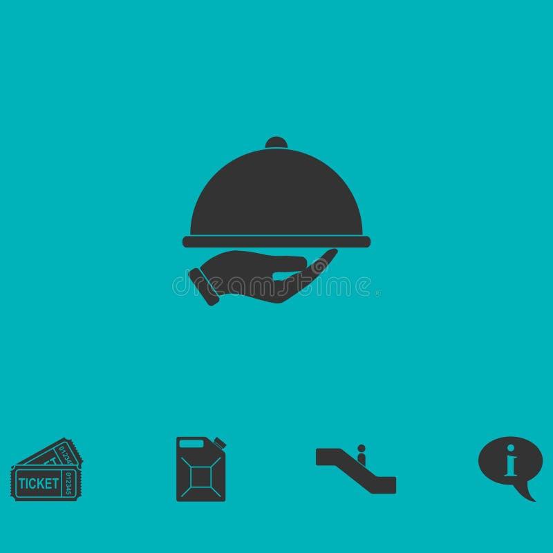Ikone der Restaurantglasglocke in der Hand flach vektor abbildung