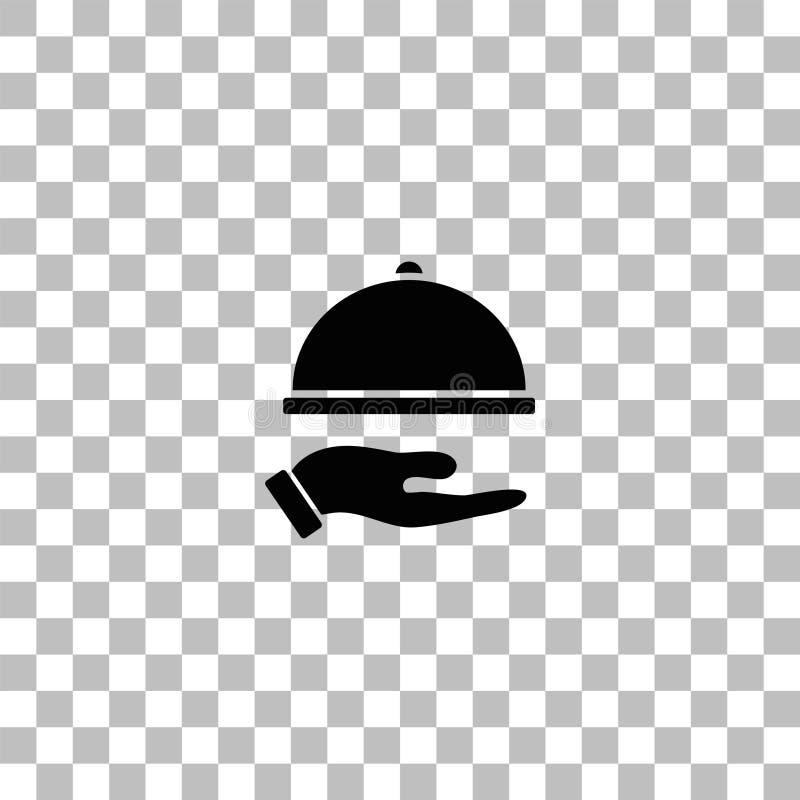 Ikone der Restaurantglasglocke in der Hand flach stock abbildung