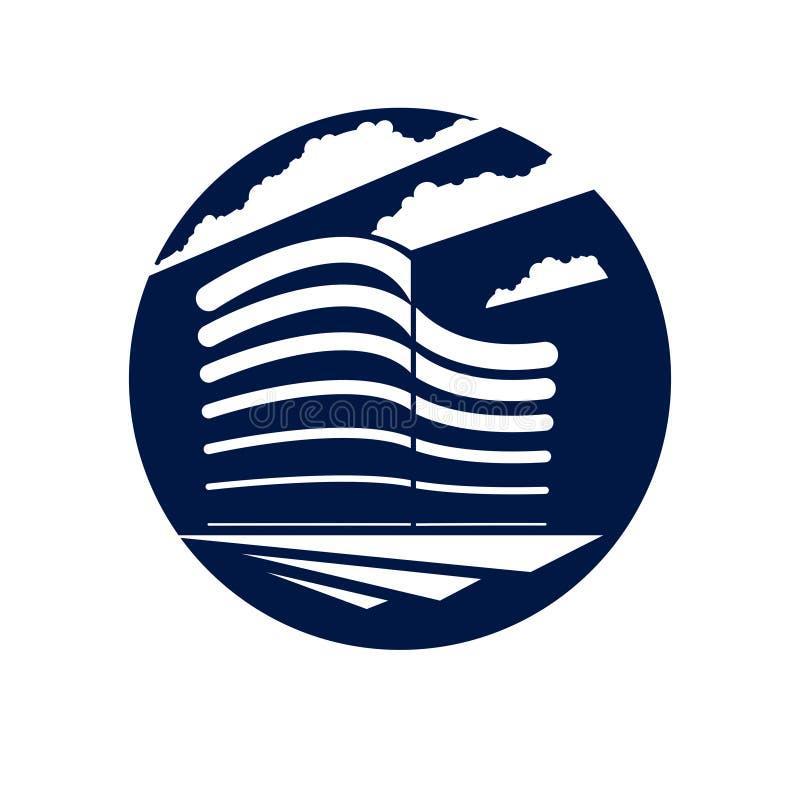 Ikone der runden Form des Bürogebäudes oder Logo, moderne Architekturvektorillustration Immobiliengrundstück-Geschäftszentrumdesi vektor abbildung