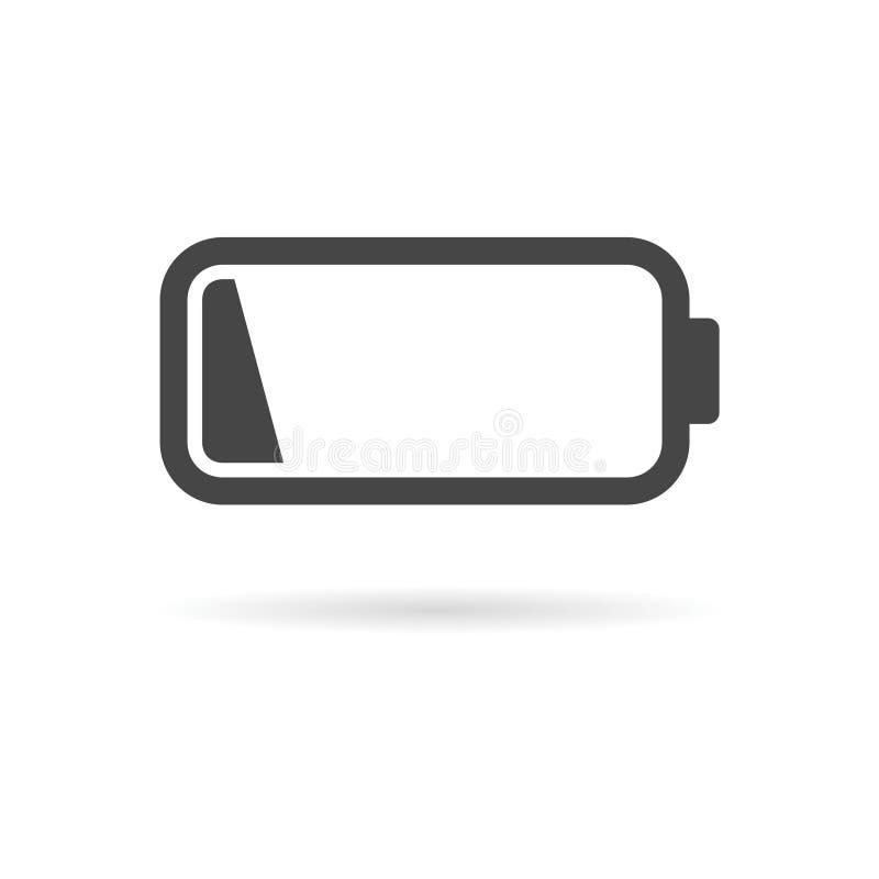 Ikone der schwachen Batterie, Batterieikone stock abbildung