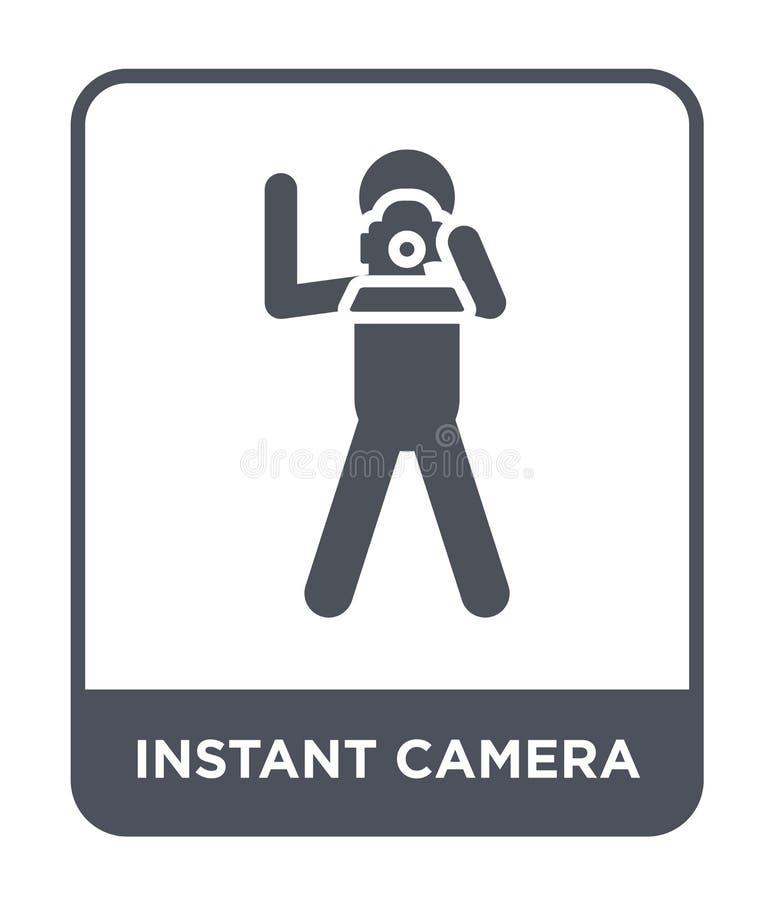 Ikone der sofortigen Kamera in der modischen Entwurfsart Ikone der sofortigen Kamera lokalisiert auf weißem Hintergrund Vektoriko vektor abbildung