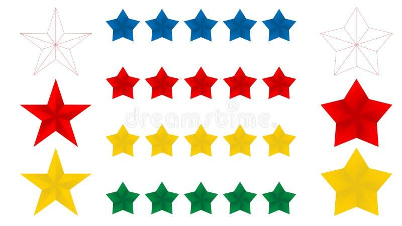 Ikone der Sterne fünf auf einem weißen Hintergrund, Vektorillustration Rotes blaues gelbes Gold 5 und dünne Linie Sterne Vektorab vektor abbildung
