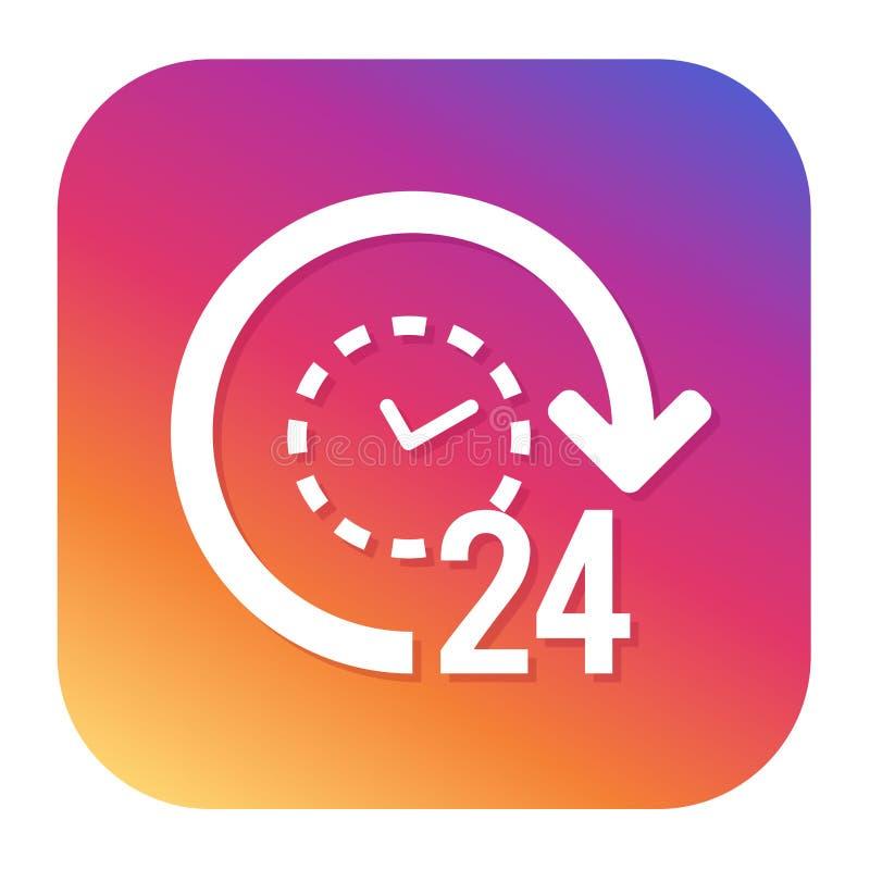 Ikone der Unterstützungs 24h mit Hippie-Knopf Knopf des elektronischen Geschäftsverkehrs Einkaufssymbol vektor abbildung
