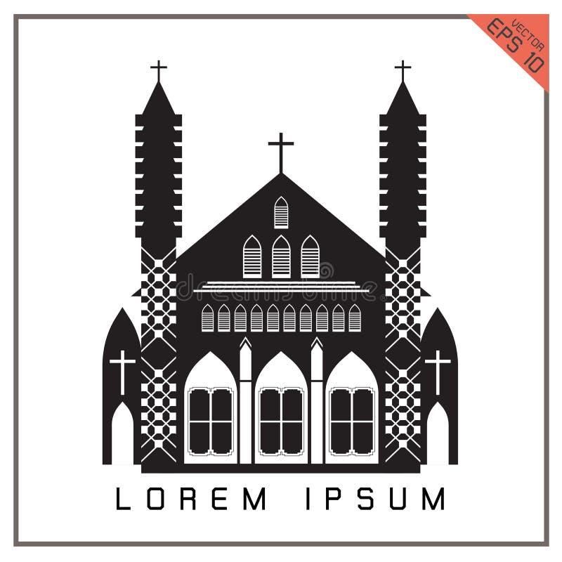 Ikone der Vektor-schwarzen Kirche stellte auf weißen Hintergrund ein vektor abbildung