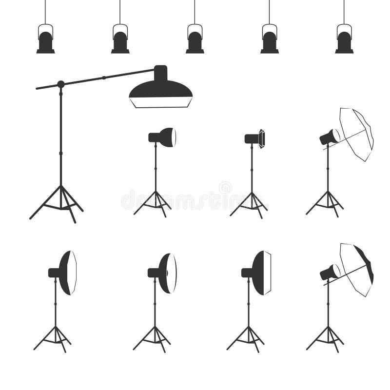 Ikone der Vektorphotographstudio-lichttechnischen Ausrüstung vektor abbildung