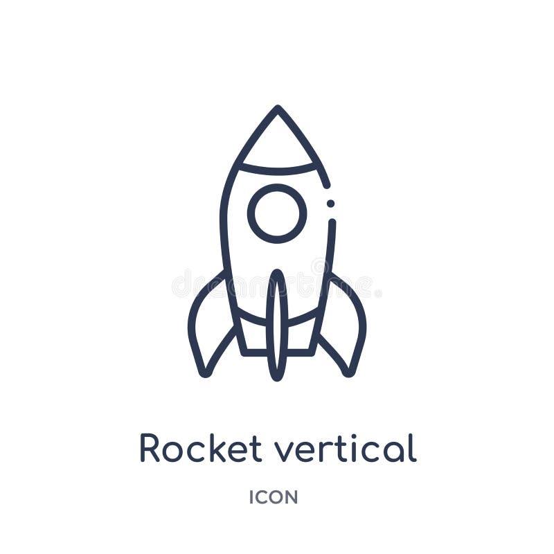 Ikone der vertikalen Position der Rakete von der Transportentwurfssammlung Dünne Linie Ikone der vertikalen Position der Rakete l lizenzfreie abbildung