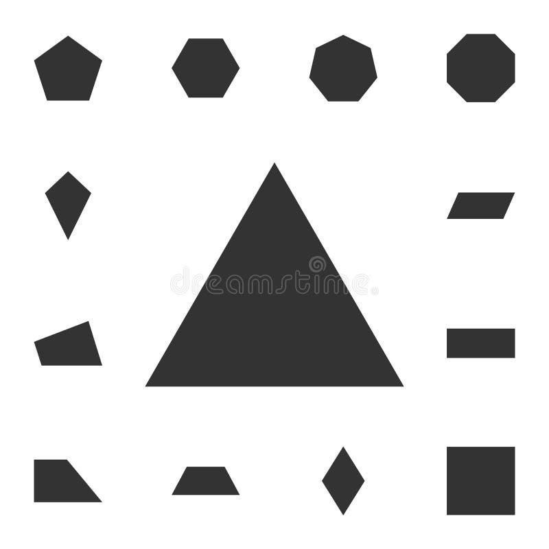 Ikone des äquilateralen Dreiecks Ausführlicher Satz der geometrischen Zahl Erstklassiges Grafikdesign Eine der Sammlungsikonen fü vektor abbildung