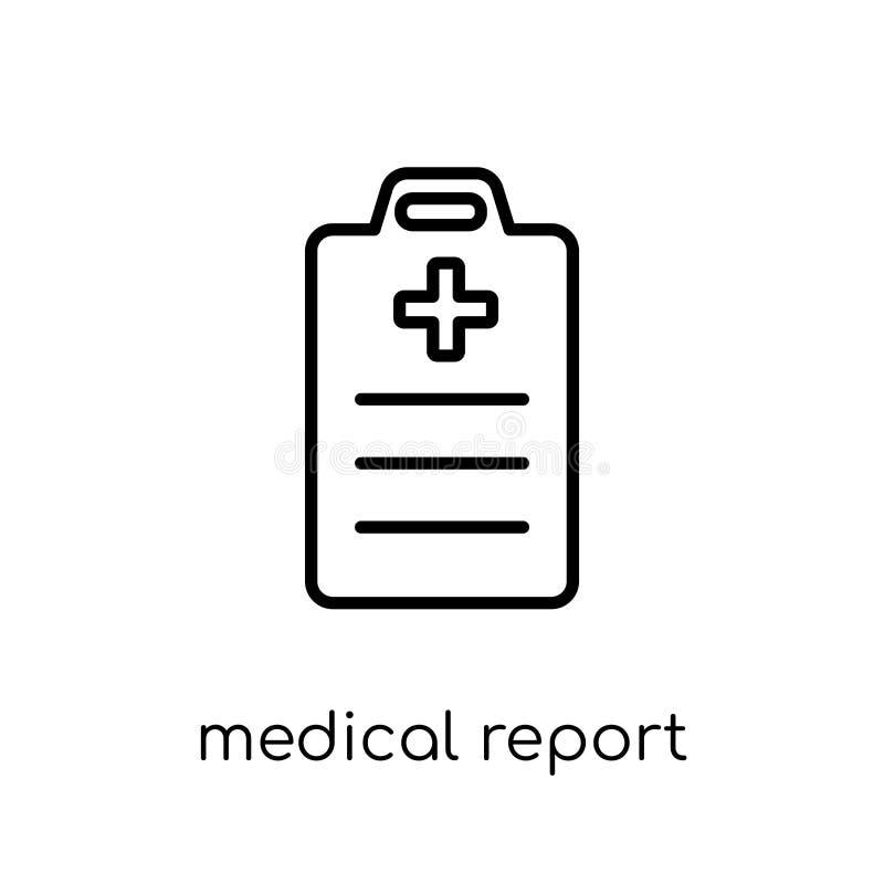 Ikone des ärztlichen Attests Modischer moderner flacher linearer Vektor medizinisches Re vektor abbildung