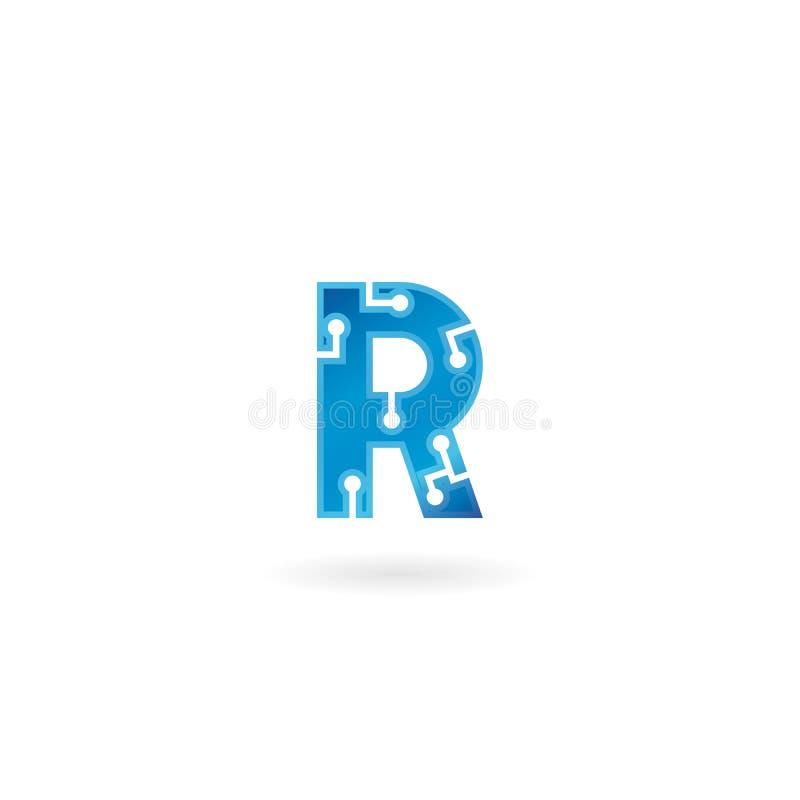 Ikone des Buchstaben R Intelligentes Logo, Computer und Daten der Technologie bezogen sich das Geschäft, High-Tech und innovativ, stock abbildung