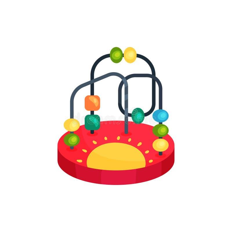 Ikone des bunten Perlenlabyrinthspielzeugs Spaß und Lernspiel für Kinder Konzept Entwicklung der Kind s Karikatur flach lizenzfreie abbildung