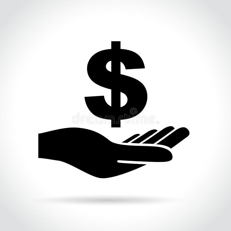 Ikone des Dollarzeichens in der Hand lizenzfreie abbildung