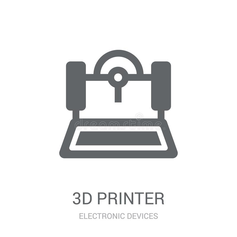 Ikone des Druckers 3D  lizenzfreie abbildung