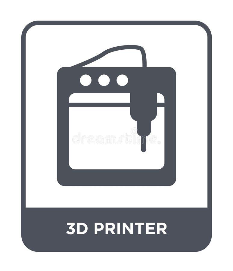 Ikone des Druckers 3d in der modischen Entwurfsart Ikone des Druckers 3d lokalisiert auf weißem Hintergrund Vektorikone des Druck vektor abbildung