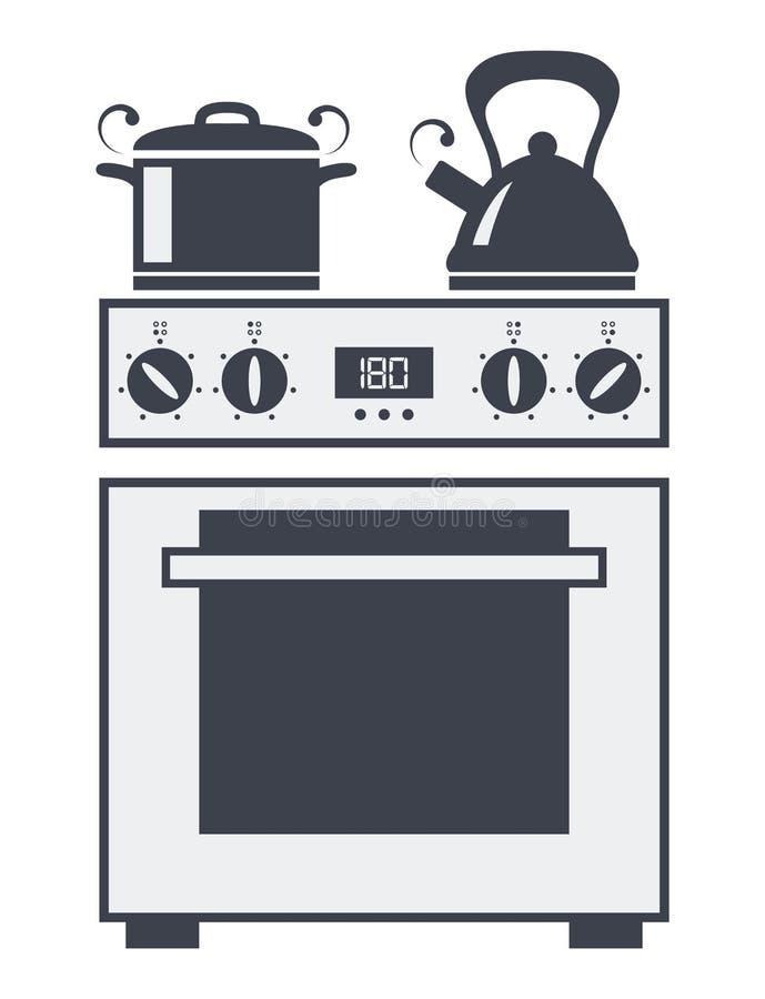 Ikone des elektrischen Ofens der Küche vektor abbildung