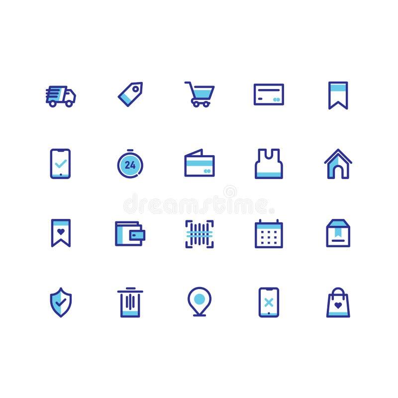 Ikone des elektronischen Geschäftsverkehrs stellt Entwurfs-Linie Vektor ein vektor abbildung