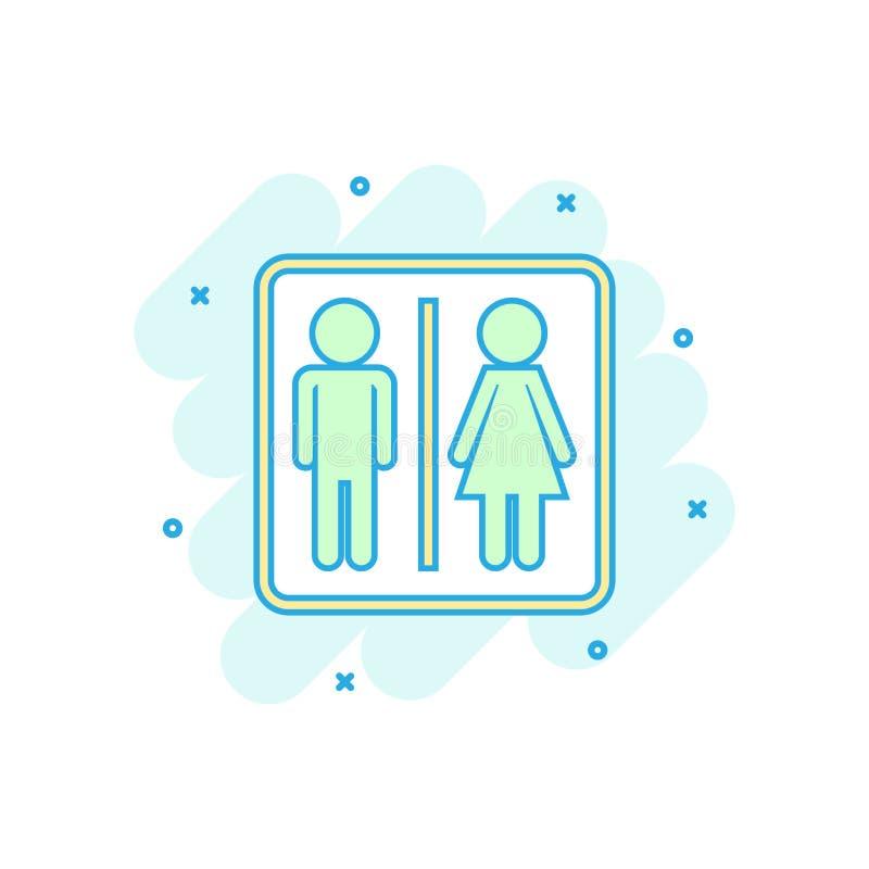 Ikone des farbigen Mannes und der Frau der Karikatur in der komischen Art Toilette illu vektor abbildung