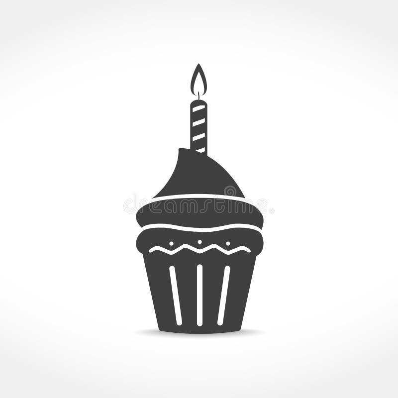 Ikone des Geburtstags-kleinen Kuchens vektor abbildung