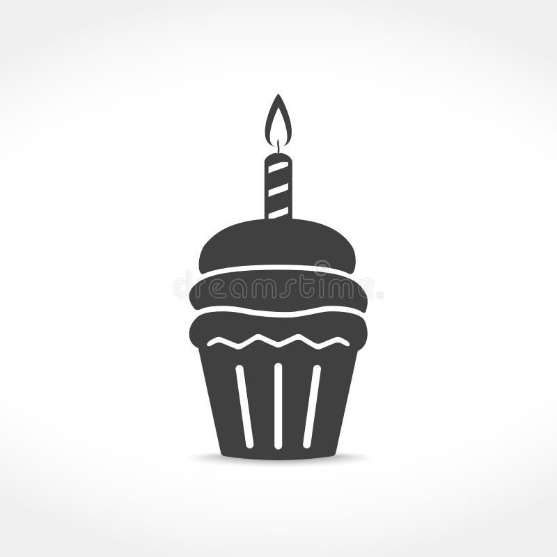 Ikone des Geburtstags-kleinen Kuchens lizenzfreie abbildung