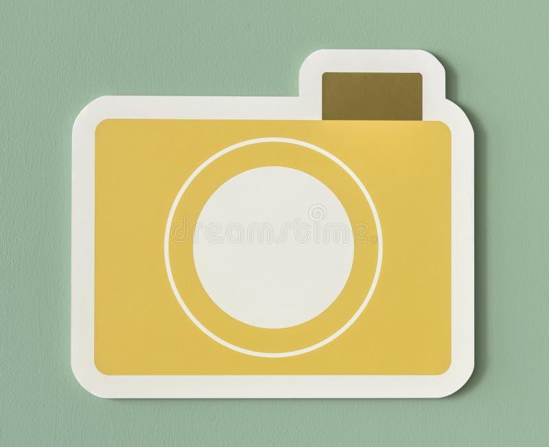 Ikone des gelben Papierkameraordners lizenzfreie abbildung