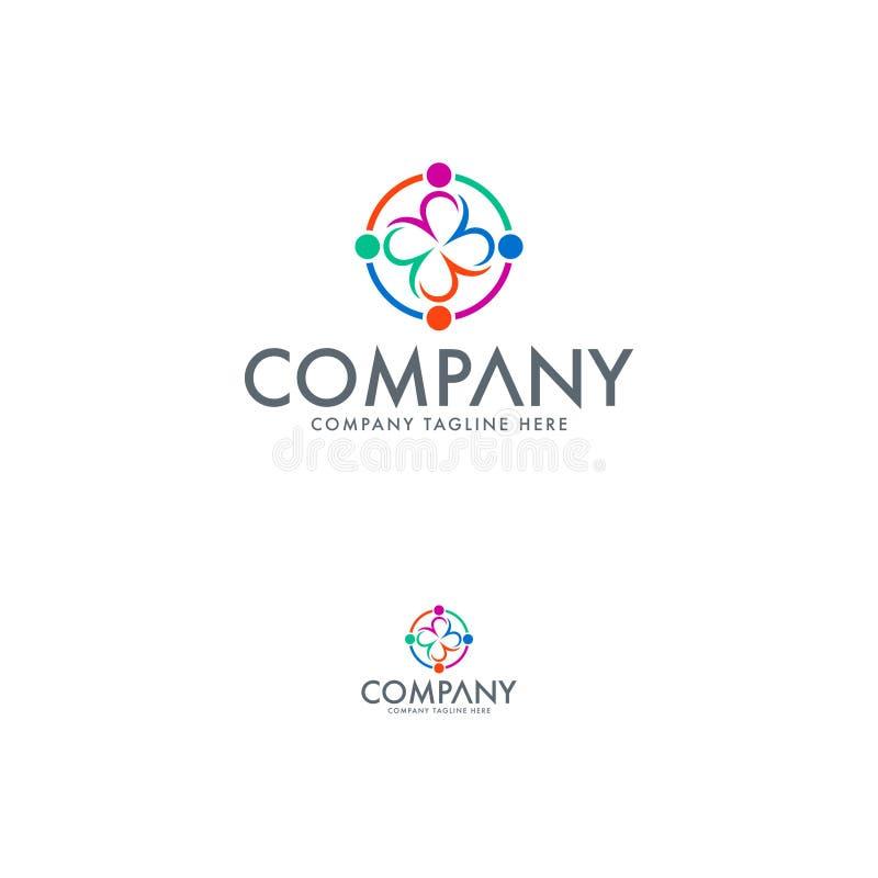 Ikone des Geschäftsteam-Sozialen Netzes Abstrakte Leutevektor-Logoschablone Bildungsstiftungs-abstraktes Logo lizenzfreie abbildung