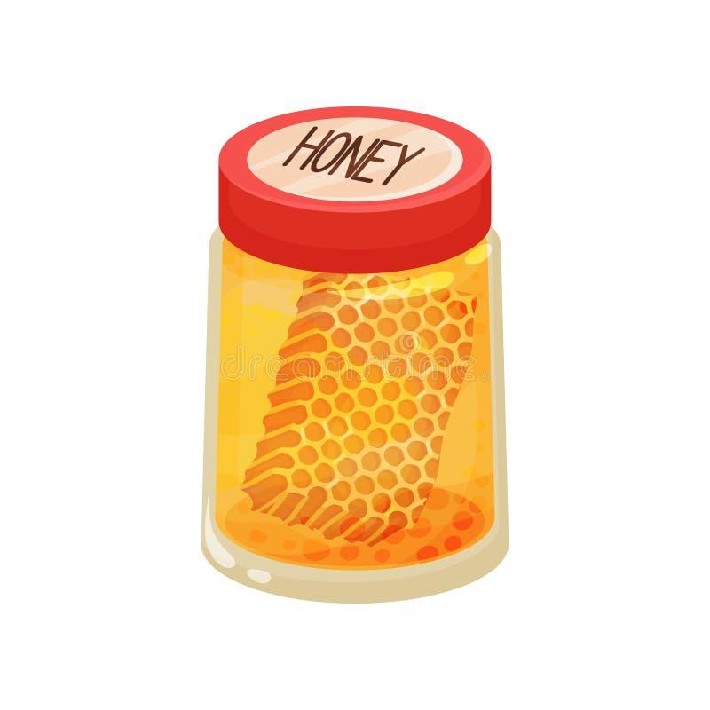 Ikone des Glasgefäßes mit Honig und Bienenwaben Dekorativer Aufkleber für Entwurf Organisches und gesundes Lebensmittel Flaches V lizenzfreie abbildung